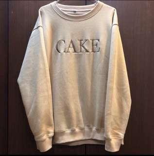 Cake Asia Logo Crewneck 卡其 衛衣 古著