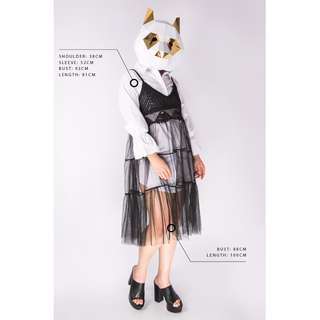 One-piece white shirt with black knit match with organza outer wear @ NO RULE