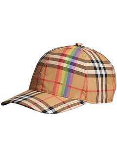Rainbow Vintage Check Baseball Cap