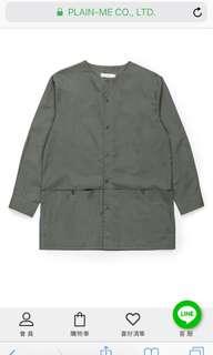 Plain-me COP防潑水高密棉質無領長版襯衫
