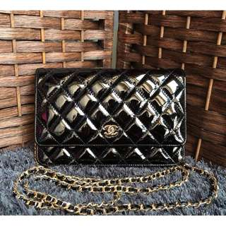 Chanel WOC Lambskin in Black with Gold Hardware