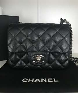 Authentic Chanel Classic Mini Square Black Caviar Flap Bag