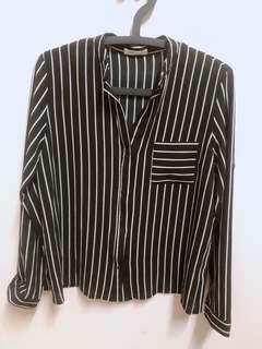 中山領黑白條紋襯衫