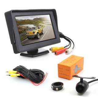 Rear View Parking Camera - 4.3-Inch LCD Display, IP68 Waterproof, CMOS Sensor, 130-Degree Lens, For Truck, Car, Bus (CVAIA-C644)