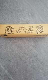 Bug border rubber stamp