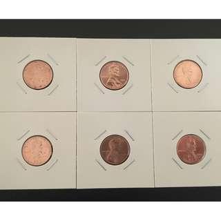 美國(美金)錢幣/硬幣 1美分6枚 林肯誕生200周年加盾牌加大會(一組六枚一起賣)