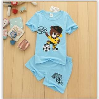 Kids casual short sleeve cotton suit top + pant 2pcs set