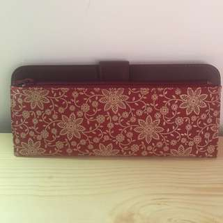 Japanese flowerly lady woman Purse Wallet coin card Leather - Red - Mother Day Gift Present
