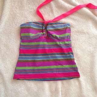 Nava Rainbow stripes retro pink swimwear swimsuit top