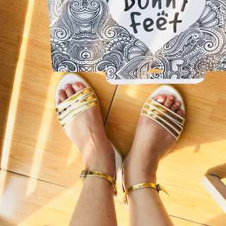 White Gold Strap Sandals by Bunny Feet