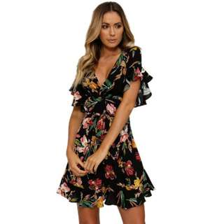 [PO] Floral Ruffle Mini Dress