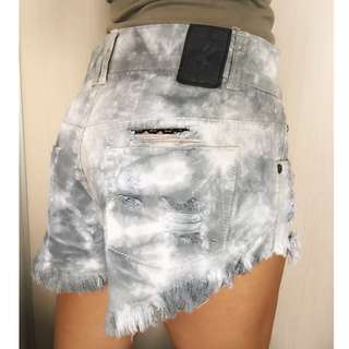 fringed denim shorts, size 6