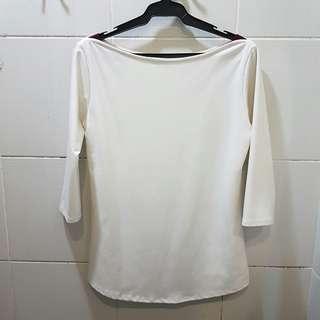 White three-quarter sleeve shirt