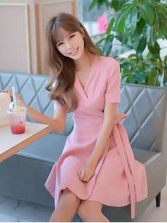 Casual: Pink Summer Tying Waist V-Neck Flouncing Dress (S / M / L / XL) - OA/MKD041560