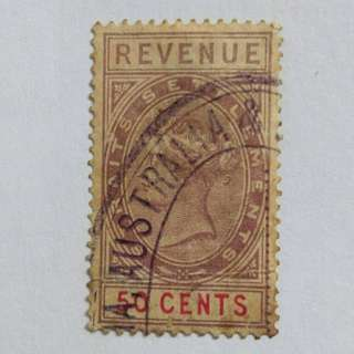 Straits Settlements QV 1882 50c revenue fiscal, label,local BL615