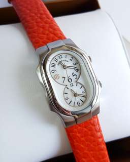 PHILIP STEIN Signature Dual Time Size 1 SMALL Women's Watch 1-NFMOP BRAND NEW AUTHENTIC!