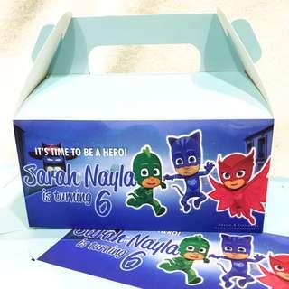 .✔️customize goodie bag / party bag / door gift / goodie box - PJ masks