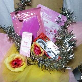 Paket etude blooming lipstick, rorec sheetmask,bioaqua sheetmask,fakelashes