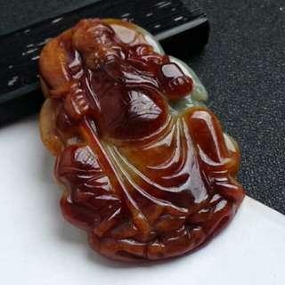 🍍Big! Grade A Red 关公 Guangong Jadeite Jade Pendant/Display🍍