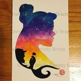 迪士尼公主系列 ~ 美女與野獸 (自家製作水彩畫) 只售彩色複印本