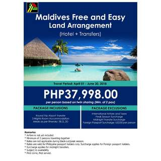 Maldives Free and Easy Land Arrangement