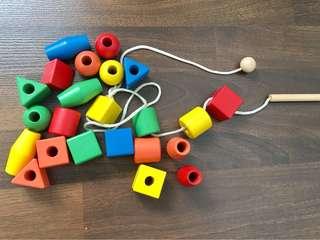 Wooden blocks for threading
