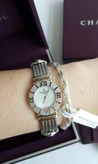 CHARRIOL St-Tropez Classic Womens Silver 24mm Analog Mother of Pearl Face Swiss Made Ladies Quartz Watch 028R.540.554 BRAND NEW AUTHENTIC!