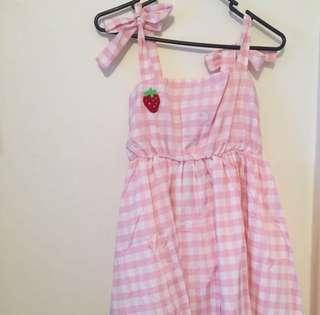 Kawaii pink gingham strawberry dress