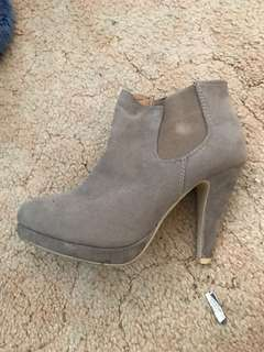Grey/brown boot heels