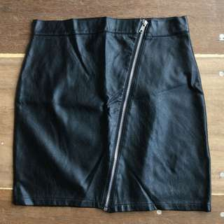 Cotton On Faux Leather Zippered Pencil Skirt