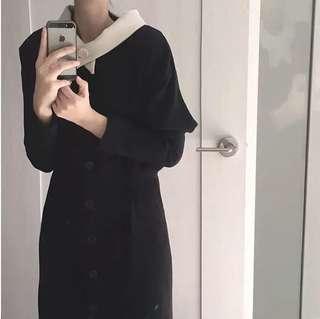 Beige Collar Black Dress