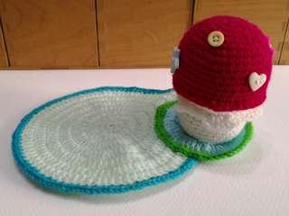 Handmade amigurumi mushroom crochet coaster