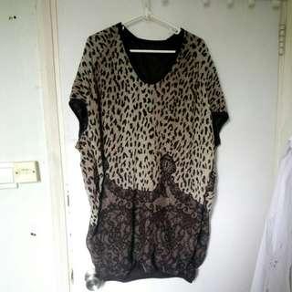 包平郵 90%new豹紋短袖長衫