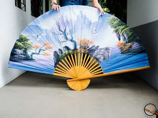 DC014 XL antique hand-painted fan