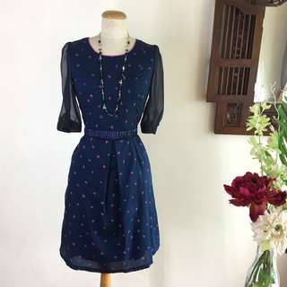 (SALE) Navy Blue Bow Print Dress