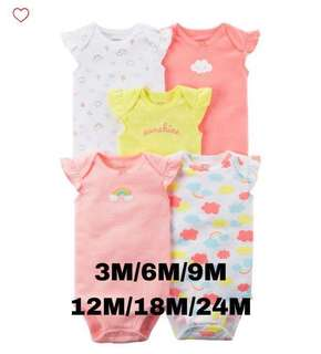 Brand New Carter's 5-Pack Flutter Sleeve Bodysuits For Baby Girl