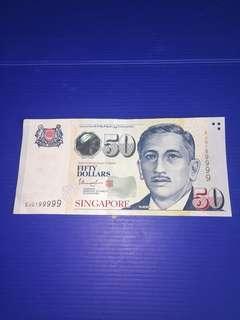 Singapore Portrait $50 Almost Jumbled Ladder S/N 5JG199999