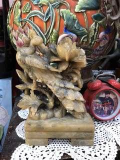 Vintage Soapstone Carving Peacock Flowers display