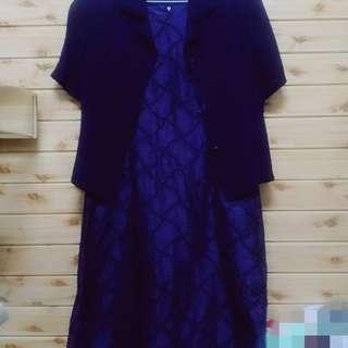 【sigmanet家庭百貨】九成新KAE NI UEI凱尼葳服飾紫色連身洋裝套裝(附小外套)