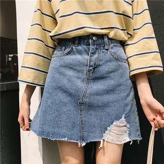 [po] ulzzang high waisted ripped denim skirt