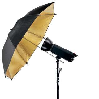 Pxel UMBG108 43 108cm Black and Gold Reflective Umbrella Photography