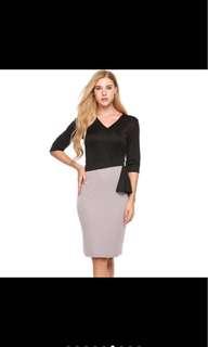 V-neck 3/4 Sleeve Dress