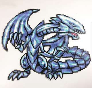 Hama beads design big portrait of blue eyes white Dragon yugioh
