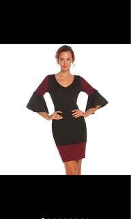 3/4 Flare Sleeve Contrast Colour Dress
