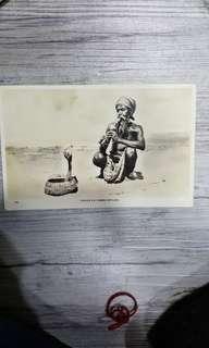Old postcard snake charmer ceylon