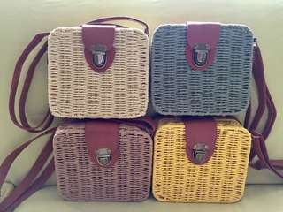 Summer rattan boxed bags