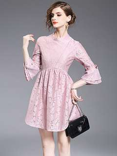Formal: Pink Lovely Stand Collar Bowknot Floral Lace Dress (S / M / L / XL) - OA/KKD030117