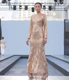 Aere Astra Sequin Dress in Gold