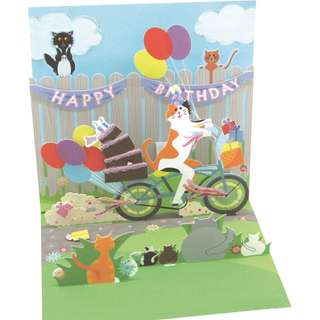 Treasures Happy Birthday Pop-Up Greeting Card - Cat and Cake Bike Ride