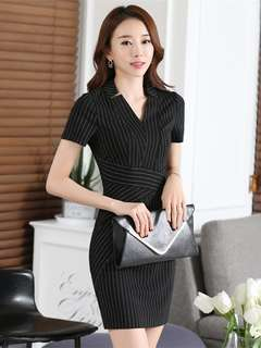 Office: Black Quality V-Neck Stripes Short Sleeve Dress (S / M / L / XL / 2XL) - OA/YYD021705